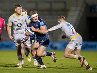 27th December 2020; AJ Bell Stadium, Salford, Lancashire, England; English Premiership Rugby, Sale Sharks versus Wasps; Ross Harrison of Sale Sharks is tackled by Charlie Atkinson of Wasps