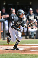 Vanderbilt Commodores right fielder Jeren Kendall (3) swings at a pitch during a game agains against the Tennessee Volunteers at Lindsey Nelson Stadium on April 24, 2016 in Knoxville, Tennessee. The Volunteers defeated the Commodores 5-3. (Tony Farlow/Four Seam Images)