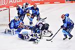Leonhard Pföderl (Nr.93 - Eisbären Berlin), Ben Marshall (Nr.45 - ERC Ingolstadt), Fabio Wagner (Nr.5 - ERC Ingolstadt), Frederik Storm (Nr.9 - ERC Ingolstadt) vor Torwart Michael Garteig (Nr.34 - ERC Ingolstadt), Tim Wohlgemuth (Nr.33 - ERC Ingolstadt) holt sich den Puck beim Spiel im Halbfinale der DEL, ERC Ingolstadt (dunkel) - Eisbaeren Berlin (hell).<br /> <br /> Foto © PIX-Sportfotos *** Foto ist honorarpflichtig! *** Auf Anfrage in hoeherer Qualitaet/Aufloesung. Belegexemplar erbeten. Veroeffentlichung ausschliesslich fuer journalistisch-publizistische Zwecke. For editorial use only.
