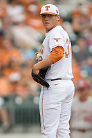 Pitcher Kendal Carrillo #32 of the Texas Longhorns against the Oklahoma Sooners in NCAA Big XII baseball on May 1, 2011 at Disch Falk Field in Austin, Texas. (Photo by Andrew Woolley / Four Seam Images)