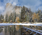 Yosemite National Park, California<br /> El Capitan reflected in stilll pool with fresh snow at Cathedral Beach, Yosemite Valley