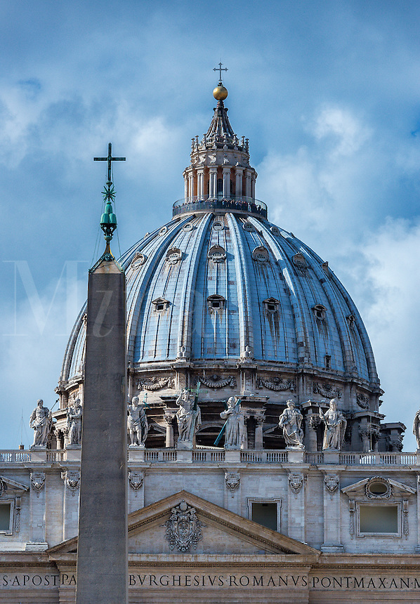 Obelisk and dome of St Peter's Basilica, Vatican City, Rome, Italy