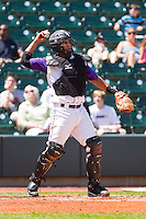 Catcher Luis Sierra #7 of the Winston-Salem Dash on defense against the Wilmington Blue Rocks at BB&T Ballpark on April 24, 2011 in Winston-Salem, North Carolina.   Photo by Brian Westerholt / Four Seam Images