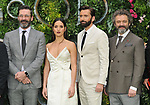 """Jon Hamm, Adria Arjona, David Tennant and Michael Sheen at the """"Good Omens"""" UK TV premiere, Odeon Luxe Leicester Square, Leicester Square, London, England, UK, on Tuesday 28th May 2019.<br /> CAP/CAN<br /> ©CAN/Capital Pictures"""