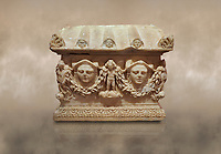 Roman relief sculpted Ostothec cremation sarcophagus, 2nd century AD, Perge. An ostothec is used to preserve the ashes and bones of the dead bodies after their cremation, takes its form from a small sarcophagus. This ostothec is a miniature example of the garland sarcophagus. Antalya Archaeology Museum, Turkey
