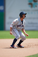 Mahoning Valley Scrappers designated hitter Jesse Berardi (52) leads off second base during the first game of a doubleheader against the Auburn Doubledays on July 2, 2017 at Falcon Park in Auburn, New York.  Mahoning Valley defeated Auburn 3-0.  (Mike Janes/Four Seam Images)