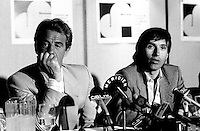 May 6, 1985 File Photo -  News conference for the movie HOLD UP ( a French-Quebec co production shot in Montreal) with actorJean-Paul Belmondo and Alexandre Arcady, filmaker