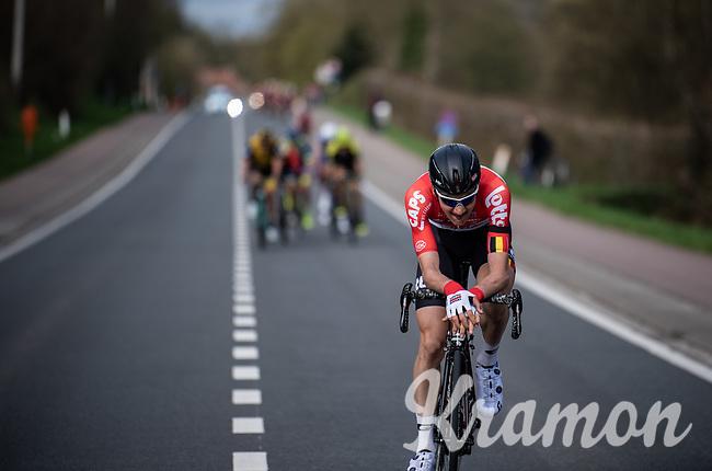 race leader Tim Wellens (BEL/Lotto-Soudal) forcing a gap at the 58th Brabantse Pijl 2018 (BEL)