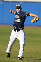 Pittsburgh Panthers Luke Novosel #42 during a game vs. the Central Michigan Chippewas at Chain of Lakes Park in Winter Haven, Florida;  March 11, 2011.  Pittsburgh defeated Central Michigan 19-2.  Photo By Mike Janes/Four Seam Images