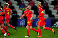 Lilly Woodham of Wales Women's celebrates scoring her side's fourth goal during the UEFA Women's EURO 2022 Qualifier match between Wales Women and Faroe Islands Women at Rodney Parade in Newport, Wales, UK. Thursday 22 October 2020