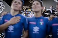 Elisa Longo Borghini (ITA/Trek Segafredo) and Italian team mates on the first row at the podium to celebrate Elisa Balsamo (ITA/Valcar-Travel and Service) in the Rainbow jersey <br /> <br /> Women Elite – Road Race (WC)<br /> Race from Antwerp to Leuven (157.7km)<br /> <br /> ©kramon