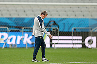 England manager Roy Hodgson gestures towards the Arena Corinthians pitch during training ahead of their Group D fixture vs Uruguay tomorrow