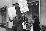 """Gay Liberation Front demonstration agains Dr David Reubens book published by Pan Books. central London 1971. A 12-foot papier-mache cucumber was delivered to the offices of Pan Books in protest at Dr David Reuben's homophobic book, """"Everything You Always Wanted To Know About Sex"""", which suggested that all gay men were """"obsessed with shoving vegetables up their ..."""""""