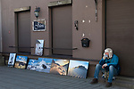 Kaunas Lithuania  Pavement artist trying to seLl his art work. Baltic States  2017 2010s,