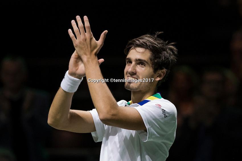ABN AMRO World Tennis Tournament, Rotterdam, The Netherlands, 17 Februari, 2017, Pierre-Hugues Herbert (FRA) defeats Thiem and celebrates<br /> Photo: Henk Koster