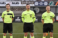 referee Niels Bossuyt with his assistant referees Sam Decroo and Tim Rasschaert  pictured during a female soccer game between SV Zulte - Waregem and Sporting Charleroi on the eleventh matchday of the 2020 - 2021 season of Belgian Scooore Womens Super League , saturday 23 th of January 2021  in Zulte , Belgium . PHOTO SPORTPIX.BE | SPP | DIRK VUYLSTEKE