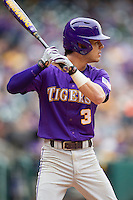 LSU Tigers second baseman Kramer Robertson (3) at bat during the NCAA baseball game against the Baylor Bears on March 7, 2015 in the Houston College Classic at Minute Maid Park in Houston, Texas. LSU defeated Baylor 2-0. (Andrew Woolley/Four Seam Images)