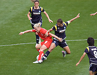 LA Sol's Shannon Boxx tackles Washington Freedom's Lori Lindsey. The LA Sol defeated the Washington Freedom 2-0 in the opening game of Womens Professional Soccer at Home Depot Center stadium on Sunday March 29, 2009.  .
