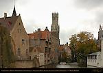 Canal Scene: Djiver at Rozenhoedkaai Red Hat Quay, Wollestraat Hotels, Belfort Bell Tower and Duc de Bourgogne, Bruges, Brugge, Belgium