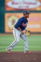 Danville Braves shortstop Nicholas Shumpert (1) during a game against the Johnson City Cardinals on July 28, 2018 at TVA Credit Union Ballpark in Johnson City, Tennessee.  Danville defeated Johnson City 7-4.  (Mike Janes/Four Seam Images)