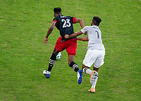 WASHINGTON, DC - NOVEMBER 8: Donovan Pines #23 of D.C. United is defended by Anthony Jackson-Harnel #11 of the Montreal Impact during a game between Montreal Impact and D.C. United at Audi Field on November 8, 2020 in Washington, DC.