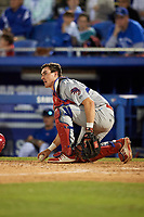 Clearwater Threshers catcher Austin Bossart (8) checks the runner during a game against the Dunedin Blue Jays on April 8, 2017 at Florida Auto Exchange Stadium in Dunedin, Florida.  Dunedin defeated Clearwater 12-6.  (Mike Janes/Four Seam Images)