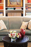 Grey couch and wooden coffee table