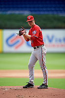 Washington Nationals starting pitcher Mason Denaburg (51) gets ready to deliver a warmup pitch during a Florida Instructional League game against the Miami Marlins on September 26, 2018 at Marlins Park in Miami, Florida.  (Mike Janes/Four Seam Images)