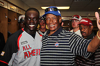 """Anthony Alford #21 talks with Hall of Fame Cubs legend Ernie Banks, aka """"Mr. Cub"""" before the Under Armour All-American Game at Wrigley Field on August 13, 2011 in Chicago, Illinois.  (Mike Janes/Four Seam Images)"""
