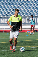 FOXBOROUGH, MA - JULY 25: USL League One (United Soccer League) match. Nathan Aune #4 of Union Omaha during a game between Union Omaha and New England Revolution II at Gillette Stadium on July 25, 2020 in Foxborough, Massachusetts.