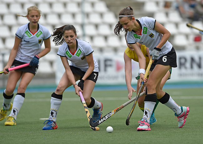 GER - Mannheim, Germany, May 24: During the U16 Girls match between Australia (green) and Germany (white) during the international witsun tournament on May 24, 2015 at Mannheimer HC in Mannheim, Germany. Final score 0-6 (0-3). (Photo by Dirk Markgraf / www.265-images.com) *** Local caption *** Emma Foerter #7 of Germany, Clara Roth #6 of Germany