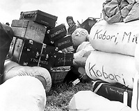 A young evacuee of Japanese ancestry identifies her baggage at this assembly center prior to transfer to a War Relocation Authority center.  Salinas Assembly Center, Salinas, California.  March 31, 1942.  Clem Alberts. (WRA)<br /> NARA FILE #:  210-G-3A-204<br /> WAR & CONFLICT #:  779