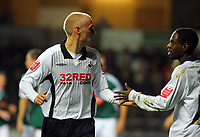 ATTENTION SPORTS PICTURE DESK<br /> Pictured L-R: Team mates David Cotterill and Nathan Dyer of Swansea.<br /> Re: Coca Cola Championship, Swansea City Football Club v Plymouth Argyle at the Liberty Stadium, Swansea, south Wales. Tuesday 08 December 2009
