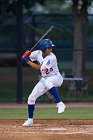 AZL Dodgers third baseman Leonel Valera (23) at bat during an Arizona League game against the AZL White Sox at Camelback Ranch on July 3, 2018 in Glendale, Arizona. The AZL Dodgers defeated the AZL White Sox by a score of 10-5. (Zachary Lucy/Four Seam Images)