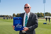 23rd March 2021; Christchurch, New Zealand;  Jeff Crowe in his 300th ODI as Match Referee during the 2nd ODI cricket match, Black Caps versus Bangladesh, Hagley Oval, Christchurch, New Zealand.