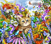 Lori, REALISTIC ANIMALS, REALISTISCHE TIERE, ANIMALES REALISTICOS, zeich, paintings+++++Kitty In The Garden_2_2013_18.5X16_72,USLS223,#a#, EVERYDAY ,puzzle,puzzles