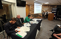 Pictured: The panel address Llangatwck Community School presentation Wednesday 25 November 2015<br /> Re: Schools take part in this year's Premier League Enterprise vent at Penderyn Suite, Liberty Stadium, Swansea, UK