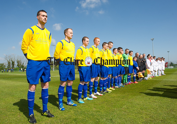 The Clare League team stands for the anthem  before the Oscar Traynor Trophy Final at AUL Complex, Clonshaugh, Dublin. Photograph by John Kelly.