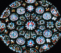 The Rose and Lancet windows in Chartres Cathedral in the North transept of the church. Gothic style