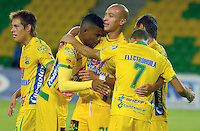 ARMENIA - COLOMBIA -15 -08-2015: Jhony Cano (2Izq.), jugador de Atletico Huila, celebra el gol anotado a Alianza Petrolera, durante partido entre Atletico Huila y Alianza Petrolera, por la fecha 6 de la Liga Aguila II-2015, jugado en el estadio Centenario de la ciudad de Armenia. / Jhony Cano (2L), player of Atletico Huila, celebrates a scored goal Alianza Petrolera, during a match between Atletico Huila and Alianza Petrolera, the  date 6of the Liga Aguila II-2015 at the Centenario Stadium in Armenia city. Photo: VizzorImage / Inti / Cont.