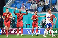ST PETERSBURG, RUSSIA - JUNE 12 :  Romelu Lukaku forward of Belgium celebrates scoring a goal with teammates pictured during the 16th UEFA Euro 2020 Championship Group B match between Belgium and Russia on June 12, 2021 in St Petersburg, Russia, 12/06/2021 <br /> Photo Photonews / Panoramic / Insidefoto <br /> ITALY ONLY