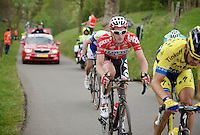 Jurgen Van den Broeck (BEL/Lotto-Belisol) up the 'steepest climb' in Holland: Keutenberg (22%)<br /> <br /> Amstel Gold Race 2014