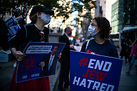 NEW YORK, NY - OCTOBER 15: women of Jewish congregations take part in a protest  on October 15, 2020 in New York, Rabbis from the congregations of Netzach Yisroel, Yesheos Yakov and Oholei Shem D'Nitra filed lawsuit in Manhattan federal after NY governor Cuomo ordered gatherings in places of worship to be limited to 25 percent capacity, or a maximum of 10 people. (Photo by Eduardo MunozAlvarez/VIEWpress)