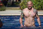Hayden Triggs. Maori All Blacks Tour of Fiji. Swim after the flight. Hilton Hotel, Fiji. July 8 2015. Photo: Marc Weakley