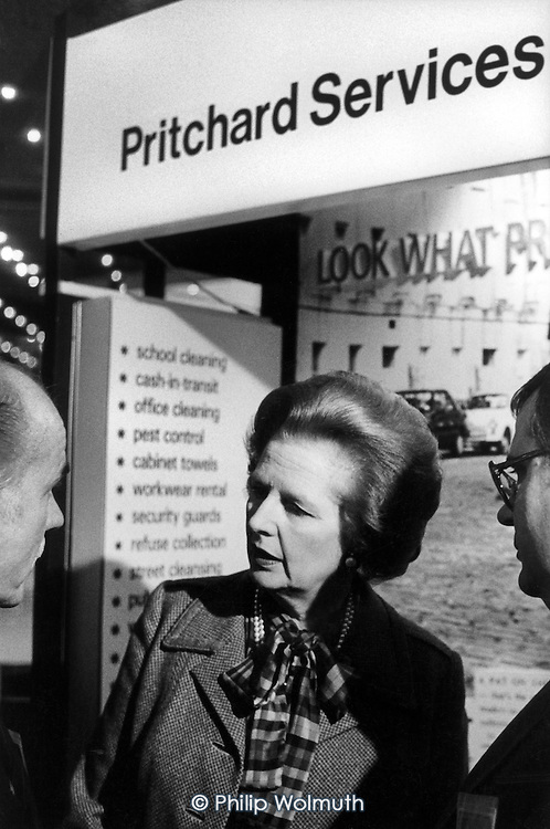 Prime Minister Margaret Thatcher talks to private contractors Prichards Services bidding for privatised local government services at a Conservative Local Government conference, London.