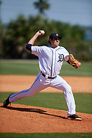Detroit Tigers Jason Foley (24) during a Minor League Spring Training game against the Toronto Blue Jays on March 22, 2019 at the TigerTown Complex in Lakeland, Florida.  (Mike Janes/Four Seam Images)