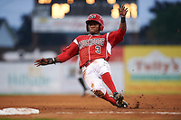 Batavia Muckdogs shortstop Anfernee Seymour (3) slides into third during a game against the West Virginia Black Bears on August 31, 2015 at Dwyer Stadium in Batavia, New York.  Batavia defeated West Virginia 5-4.  (Mike Janes/Four Seam Images)