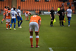 Home defender Ben Heneghan pictured at the final whistle at Bloomfield Road stadium as Blackpool hosted Portsmouth in an English League One fixture. The match was proceeded by a protest by around 500 home fans against the club's controversial owners Owen Oyston, many of whom did not attend the game. The match was won by the visitors by 2-1 with two goals by Ronan Curtis watched by just 4,154 almost half of which were Portsmouth supporters.