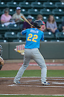 Jason Vosler (22) of the Myrtle Beach Pelicans at bat against the Winston-Salem Dash at BB&T Ballpark on April 18, 2016 in Winston-Salem, North Carolina.  The Pelicans defeated the Dash 6-4.  (Brian Westerholt/Four Seam Images)
