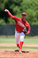 GCL Phillies pitcher Alexis Rivero (80) delivers a pitch before a game against the GCL Pirates on June 26, 2014 at the Carpenter Complex in Clearwater, Florida.  GCL Phillies defeated the GCL Pirates 6-2.  (Mike Janes/Four Seam Images)